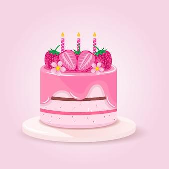 Aardbeien zoete cake