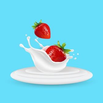 Aardbeienfruit en melkspatten