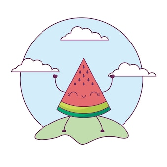 Aardbeienfruit kawaii in landschap