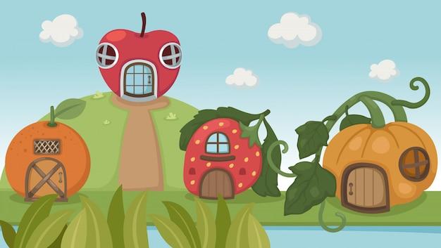 Aardbeienhuis en pompoenhuis en oranje huis