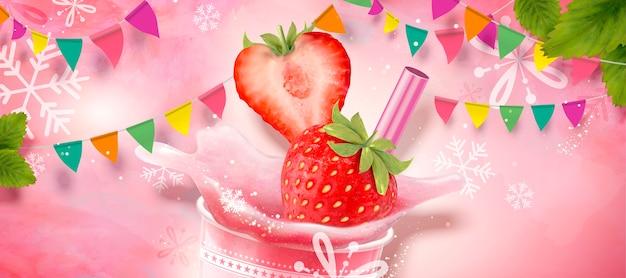 Aardbeienijs geschoren element met verfrissend fruit op roze achtergrond met sneeuwvlokken en feestvlaggen