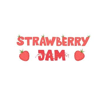 Aardbeienjam - belettering logo ontwerp. illustratie.