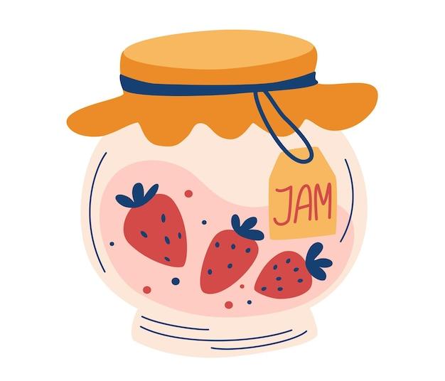 Aardbeienjam in glazen pot. doodle van thuis koken. gezonde suikervervanger. huisgemaakte bessengelei
