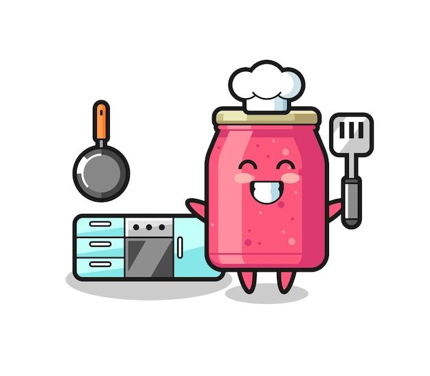 Aardbeienjam karakter illustratie als chef-kok kookt, schattig design