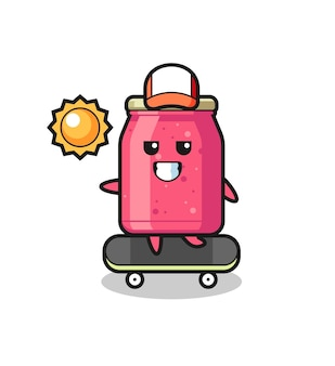 Aardbeienjam karakter illustratie rijden op een skateboard, schattig ontwerp