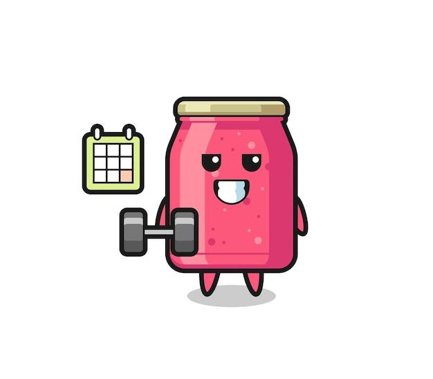 Aardbeienjam mascotte cartoon doet fitness met halter, schattig design