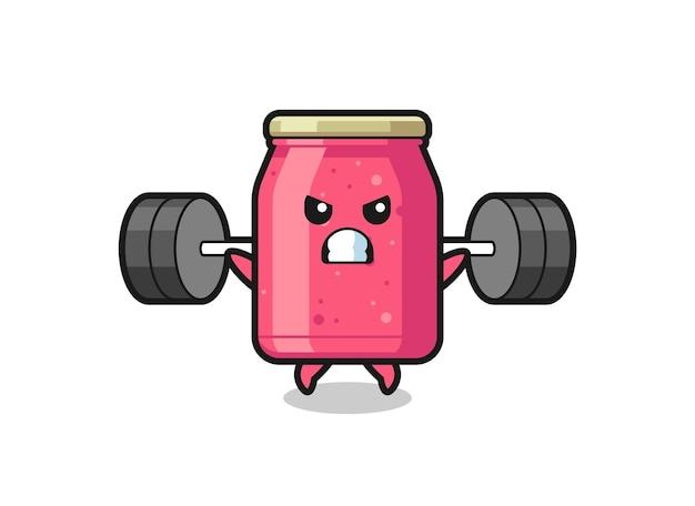 Aardbeienjam mascotte cartoon met een barbell, schattig design
