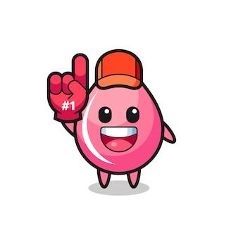Aardbeiensap drop illustratie cartoon met nummer 1 fans handschoen, schattig stijl ontwerp voor t-shirt, sticker, logo-element