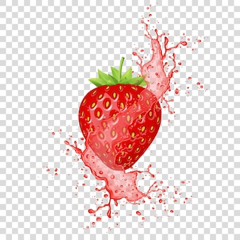 Aardbeiensap plons. realistisch vers fruit. vector.