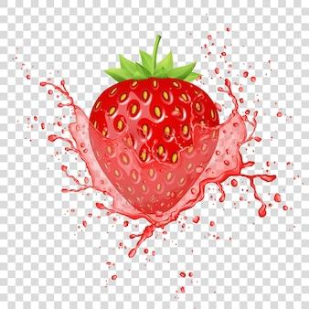Aardbeiensap splash. vers fruit.