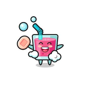Aardbeiensapkarakter baadt terwijl ze zeep vasthoudt, schattig stijlontwerp voor t-shirt, sticker, logo-element