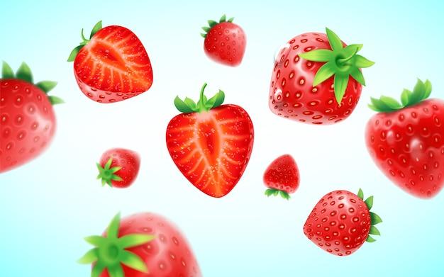 Aardbeienset, gedetailleerde realistische rijpe verse aardbeien met halve en groene bladeren