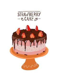 Aardbeientaart in plat design woestijn met chocolade en aardbeien op een bord