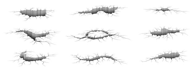 Aardbeving scheuren. realistische 3d-gaten in de grond, geïsoleerd beschadigd betoneffect, breuktextuursjablonen ingesteld. wit stevig oppervlak met donkere spleten en scheuren. vector illustratie