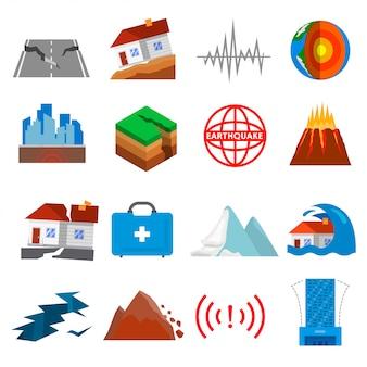 Aardbeving schudden icon set