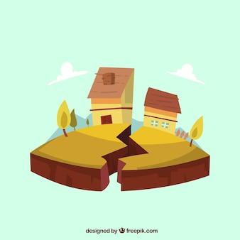 Aardbevingsontwerp met huis