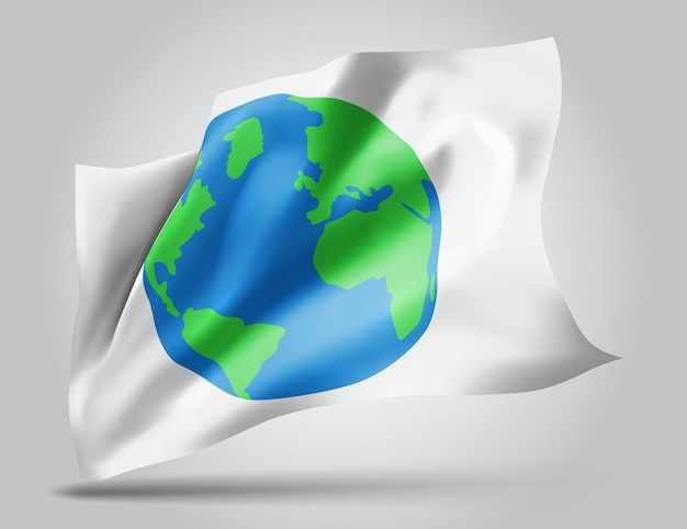 Aarde bescherming vector vlag op witte achtergrond
