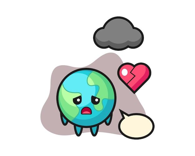 Aarde cartoon gebroken hart