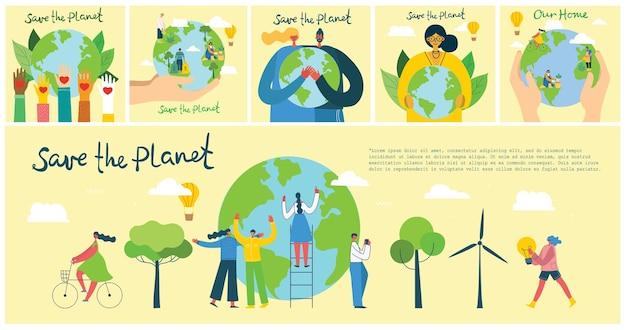 Aarde dag concept. menselijke handen met zwevende wereldbol in de ruimte. red onze planeet.