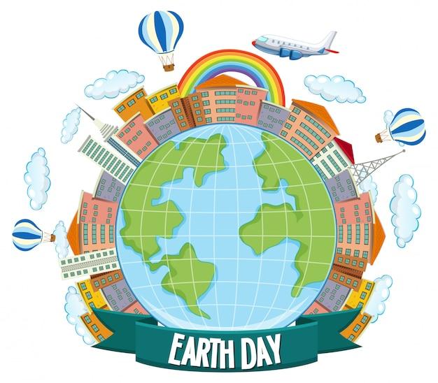 Aarde dag poster met huis, vliegtuigen en regenboog