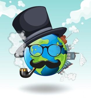 Aarde draagt een bril en hoed