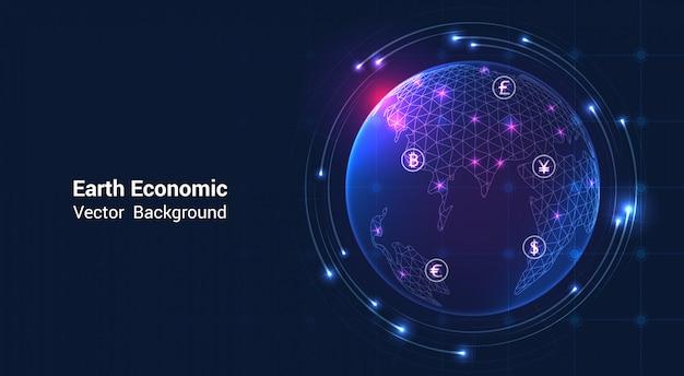 Aarde economisch op beursgrafiek - economisch wereldeconomieconcept
