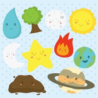 Aarde-elementen met grappige gezichten vectorinzameling