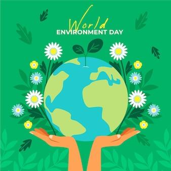 Aarde en bloemen wereld milieu dag