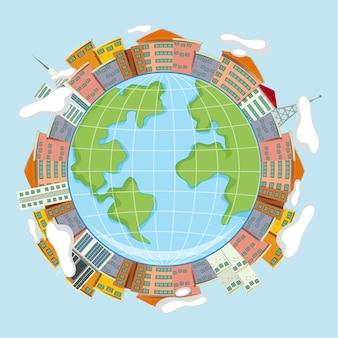 Aarde en huizenconcept