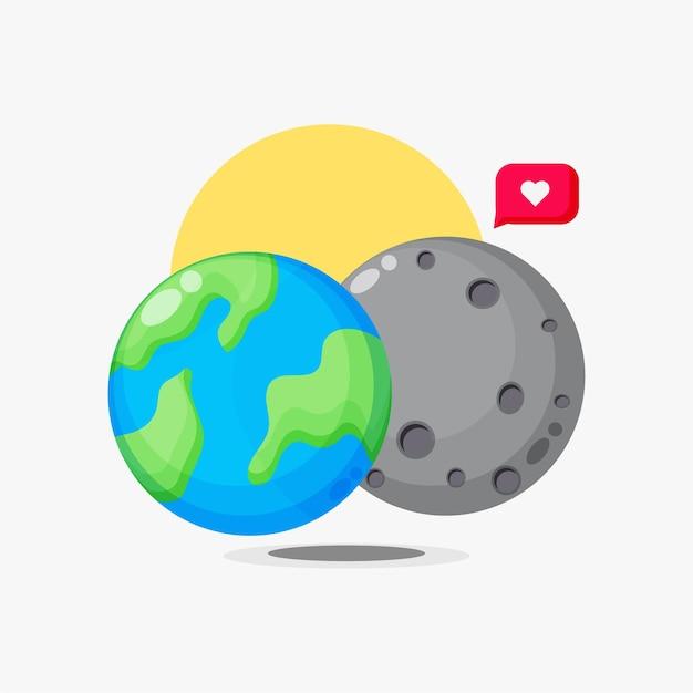 Aarde en maan cartoon met liefde bubble