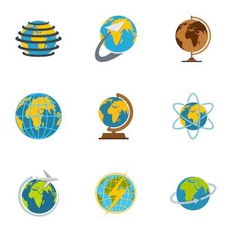 Aarde iconen set, vlakke stijl