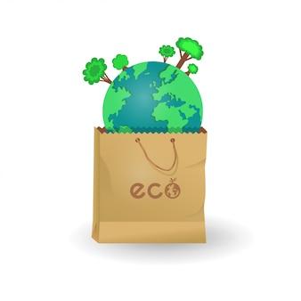 Aarde in papieren en plastic zakken