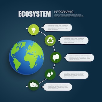 Aarde infographic met vijf stappen