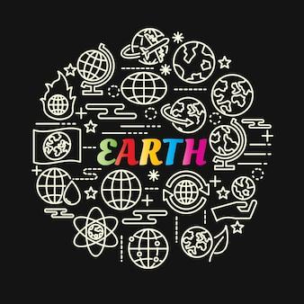 Aarde kleurrijke verloop met lijn pictogrammen instellen