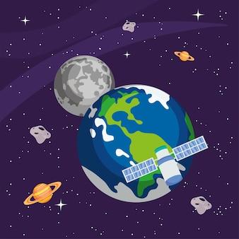 Aarde-maansatelliet en planeten in de heelalruimte