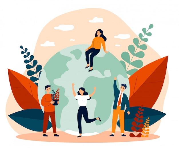 Aarde, mannen met planten en vrouwen platte vectorillustratie