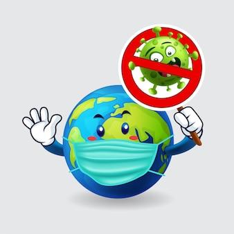 Aarde masker dragen en houden een stop covid-19 teken in geïsoleerde achtergrond