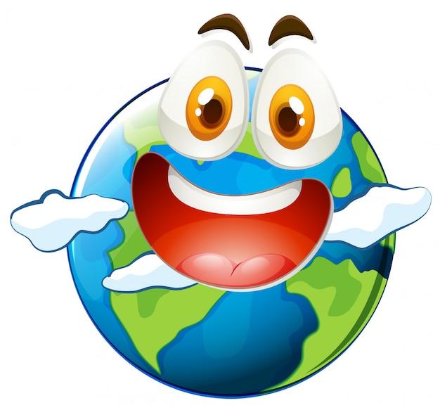 Aarde met blij gezicht