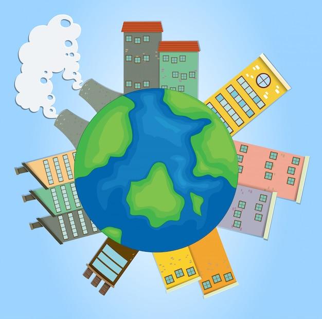 Aarde met gebouwen en fabrieken