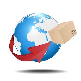 Aarde met kartonnen doos en pijl. verzending concept.