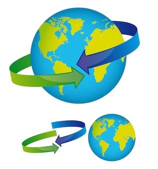 Aarde met pijlen rond geïsoleerde over witte achtergrond vector