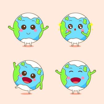 Aarde met schattige uitdrukking