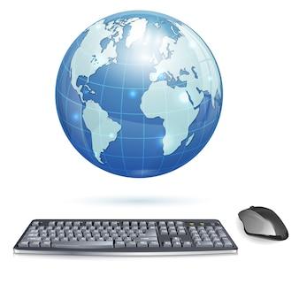 Aarde met toetsenbord en computermuis