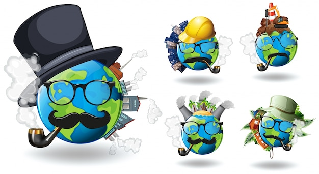 Aarde met verschillende constructies erop
