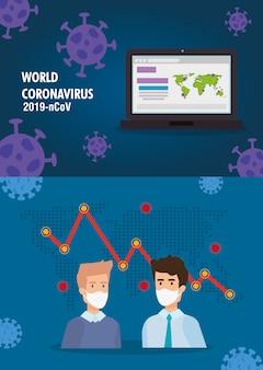Aarde met zakenman en statistiekenpijlen