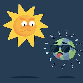 Aarde met zonnebril uitgeput gevoel omdat zonnige dag