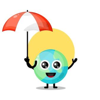 Aarde paraplu schattig karakter mascotte