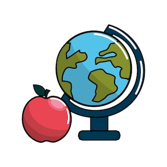 Aarde planeet bureau en apple pictogram
