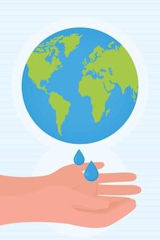Aarde planeet en handen wassen