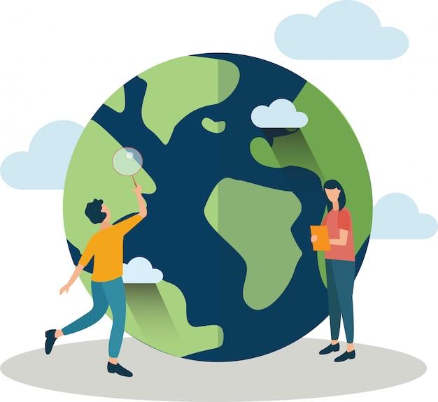 Aarde, vrede, weerwetenschappen. een paar studenten, een jongen en een meisje, bestuderen de wereldbol en kijken ernaar in een vergrootglas. illustratie in een vlakke stijl